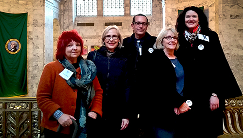 Left to right: Karen Madsen, Arts of Clark County (AoCC) Chair, LaRae Zawodny, Clark County Arts Commissioner, Todd Clark, Curator, I.M.N.D.N., Pat LaCroix, AoCC Treasurer, Annie Davern, Clark County Arts Commissioner and AoCC board member